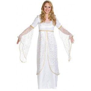 Ce déguisement ange blanc femme est à étoile or   déguisement ange blanc  femme robe blanche longue à étoiles or avec marabout de plumes blanches, ... 5f83b45ffc2e