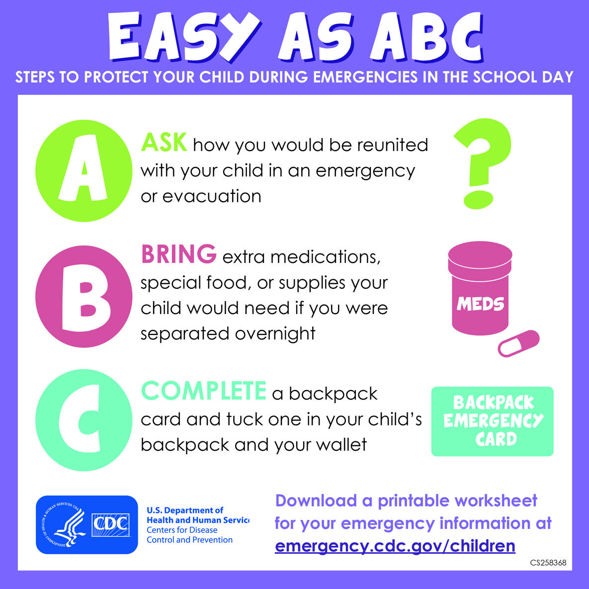 Easy as ABC Infographic from the CDC Ways you can protect your – Emergency Preparedness Worksheet