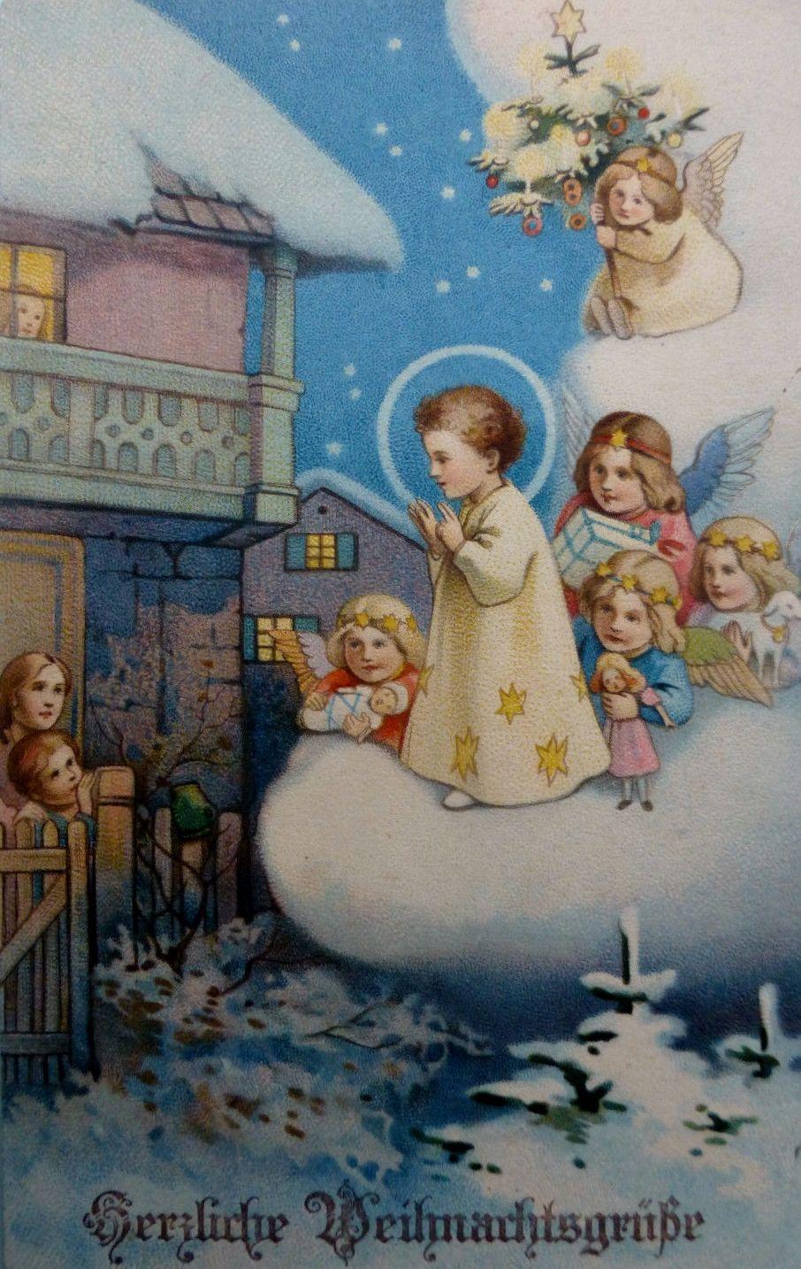 Nostalgische Weihnachtskarten Kaufen.Christkind Und Engelein Nostalgisch Weihnachtskarten Christkind