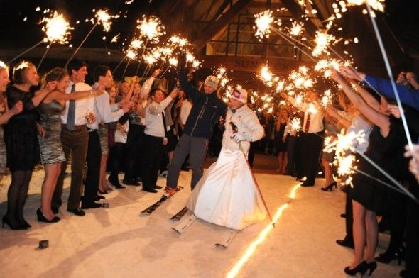 Sparklers, skiing & a wedding. dream come true.