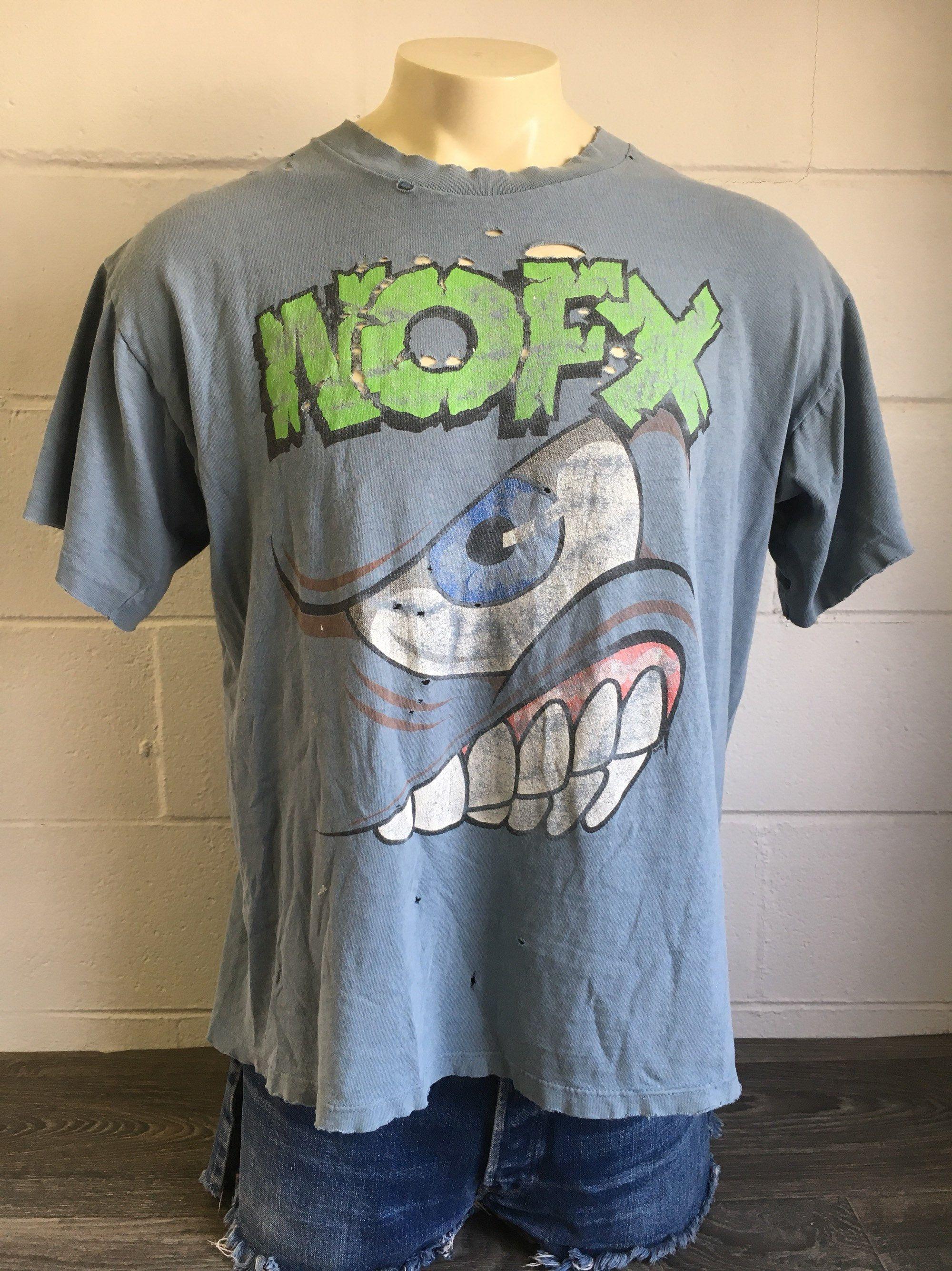 c464a68c NOFX Shirt 1994 90s Vintage Mons-Tour PUNK Rock Band Tshirt Thrashed  Distressed Hardcore Skate Rare Tee XL by sweetVTGtshirt on Etsy