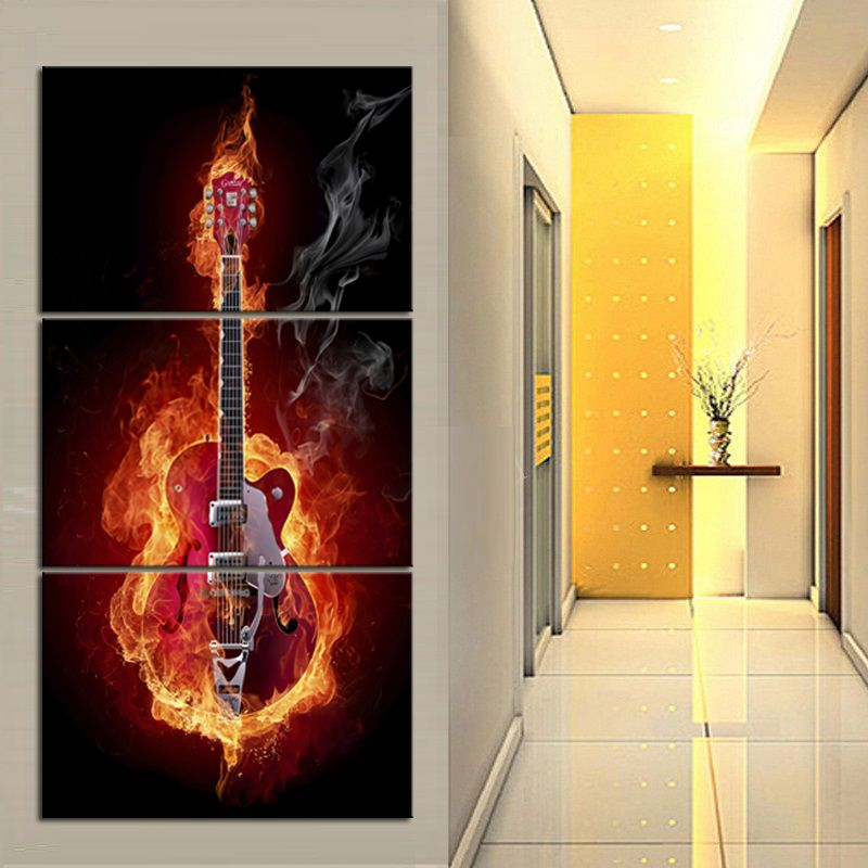 3 Panel Large Vertical Paintings On Canvas Electric Flame Guitar Painting Red Guitar Framed Art Pictures Hd Prints Vertical Wall Art Wall Art Metal Wall Art