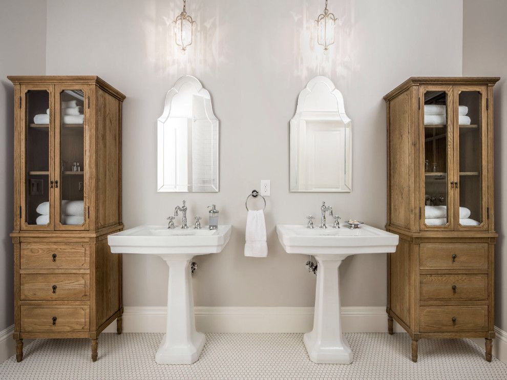 Delightful Two Pedestal Sinks In Master Bath Bathroom Traditional With Baseboard  Bathroom Storage Cross