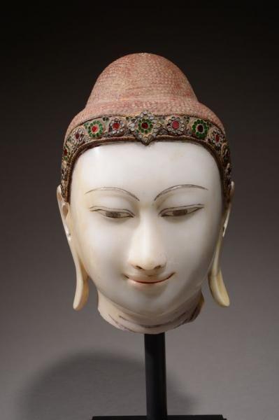 1200 1500 Birmanie Xixe Siecle Tete De Bouddha En Albatre La