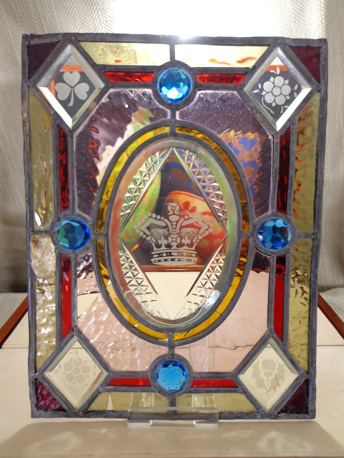 Antique Victorian Stained Glass Panel Queen Victoria Diamond Jubilee Etched