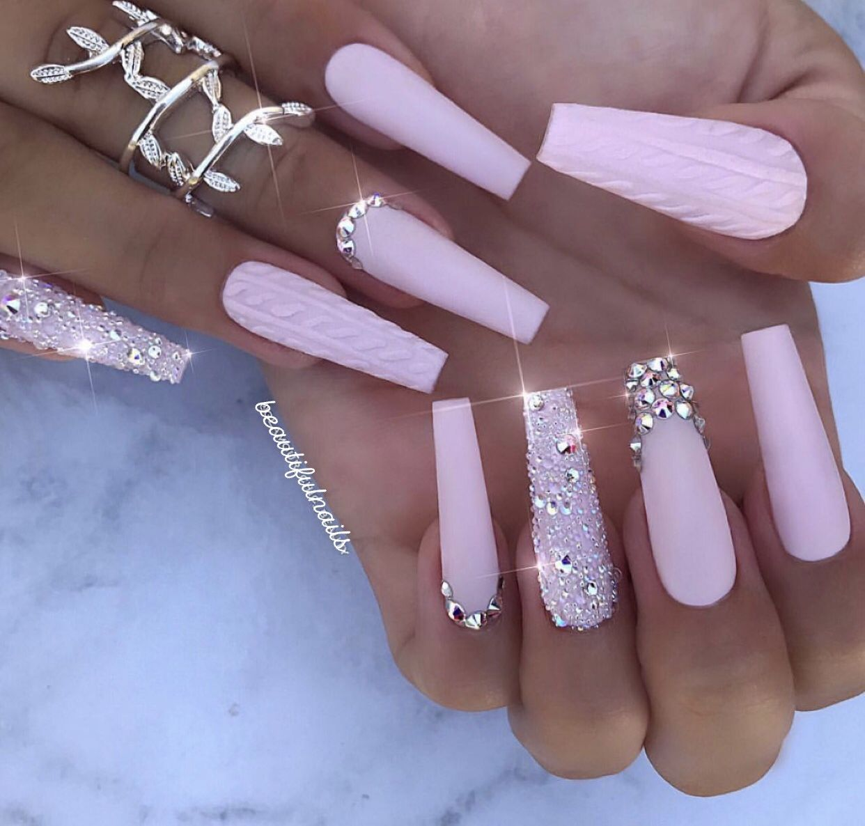 Pink Coffin Nails With Crystals Pink Acrylic Nails Rhinestone Nails Coffin Nails Long
