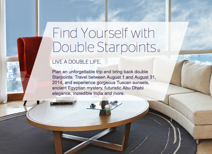 Starwood Preferred Guest: Double Starpoints for stays in Europe, the Middle East, India and Africa.