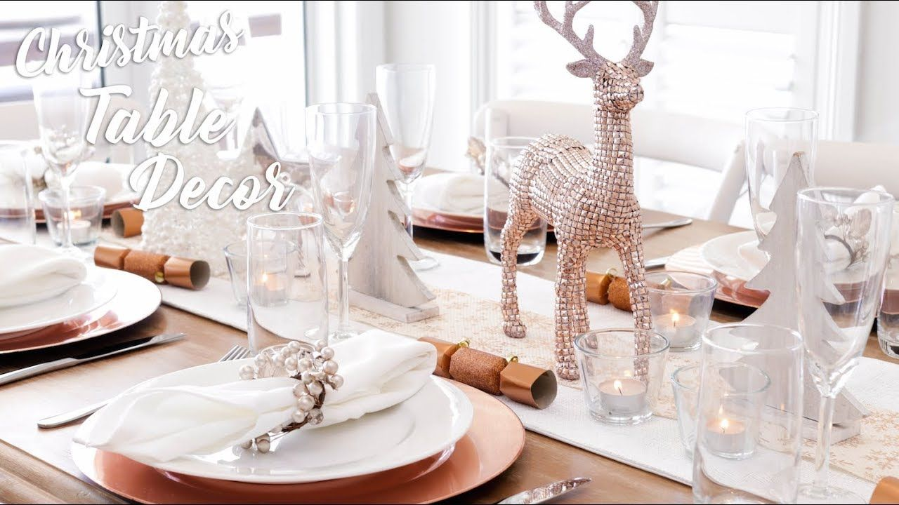 Christmas Table Decor Rose Gold Silver Theme Rose Gold Christmas Decorations Rose Gold Christmas Rose Gold Christmas Table