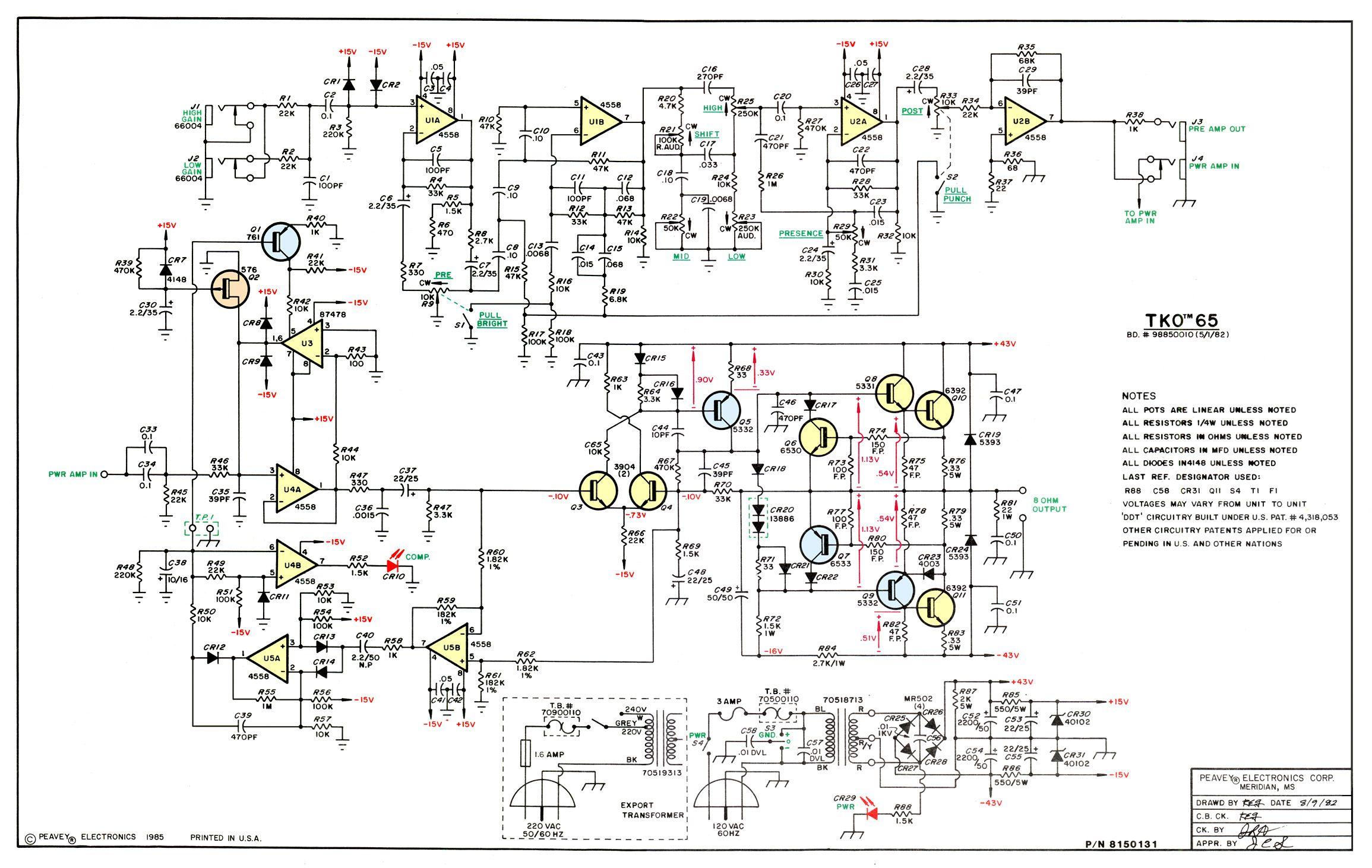 Схема Peavey-TKO 65 Amplifier Diagram