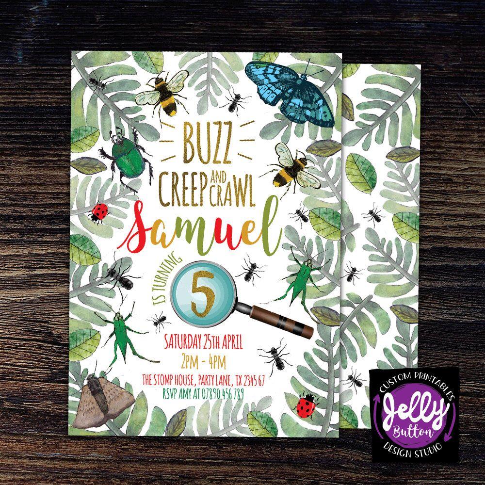 Buzz Creep and Crawl Birthday Bug Invitation, Insect Party Invite ...