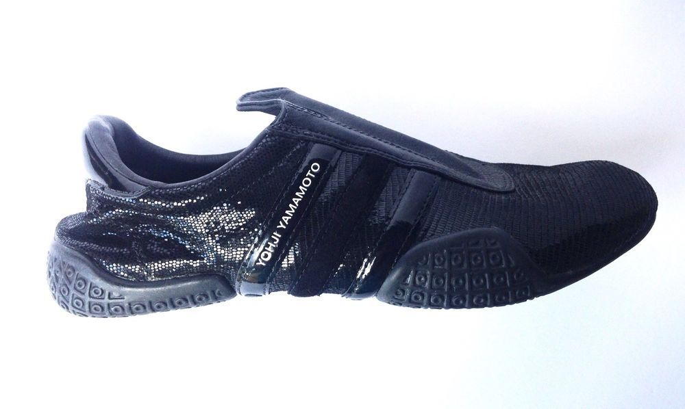 36e6860fbeb6 Y-3+Adidas+Yohji+Yamamoto+Black+Leather +Pull+Slip+On+Athletic+Sneakers+Shoes+5.5
