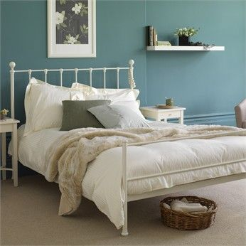 The Turquoise And White Combination Here White Iron Beds White