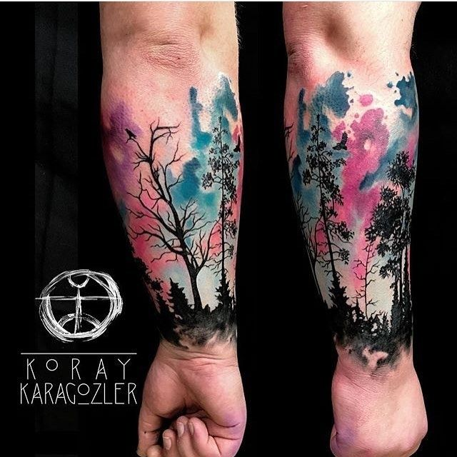 Watercolor Northern Lights Forrest Tattoo Tattoos Trendy
