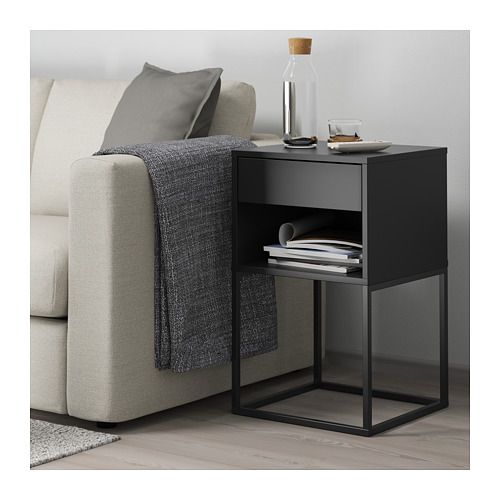 VIKHAMMER Bedside table black 40x39 cm Bedroom