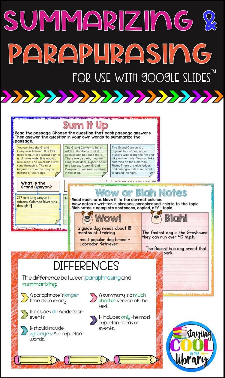 Summarizing And Paraphrasing Activitie For Google Slide Distance Learning Teaching Summarize Summary Quotation Paraphrase