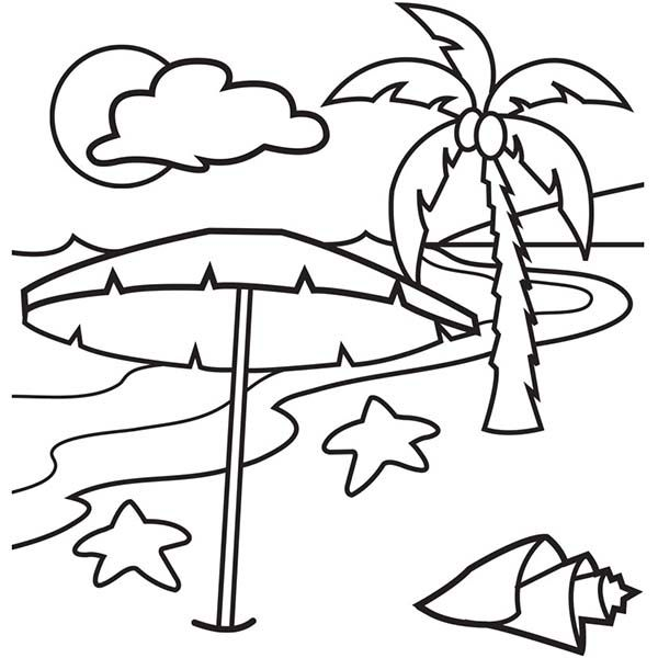 Beach Vacation A Lovely Beach On Tropical Island Coloring Page
