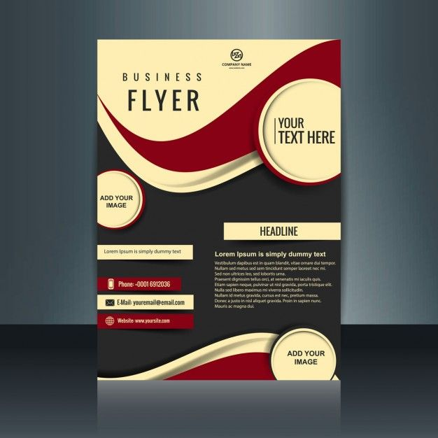 Business Flyer With Circles And Red Waves Free Vector  Flyers