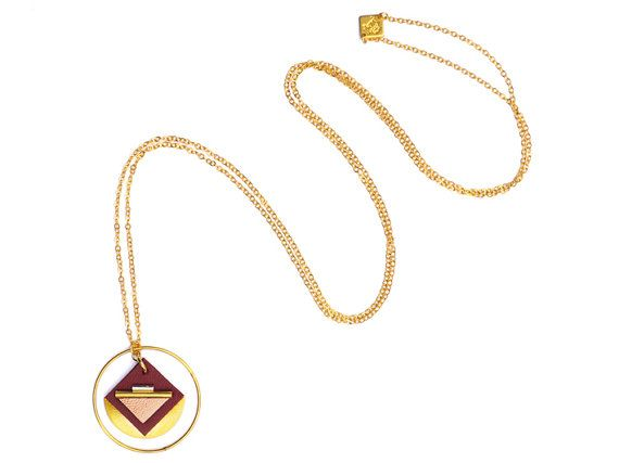Leather graphic long necklace ring pendant grigri gold by Fosseth