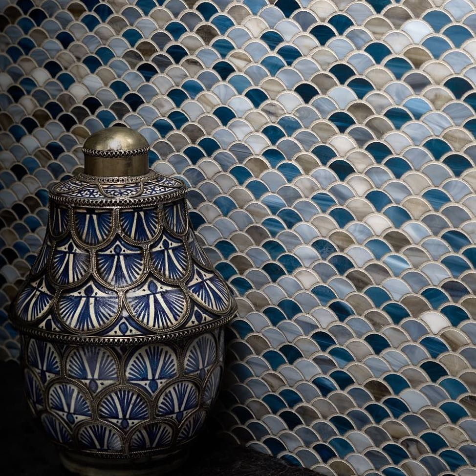 Mosaic liners art pattern mirrorred bathroom wall discount tiles - Artistic Tile Scale Mosaic In A Range Of Blue Tones Love The Pot Not The Walls