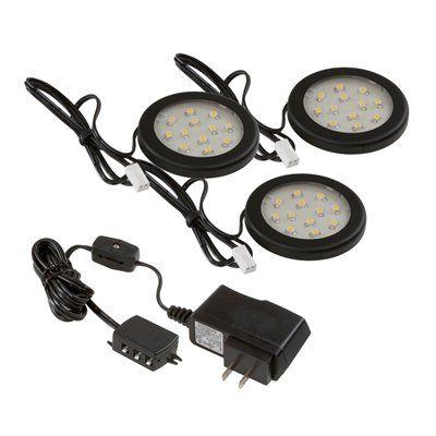 Westek 3 Pack Plug In Cabinet Led Puck Light Kit Led