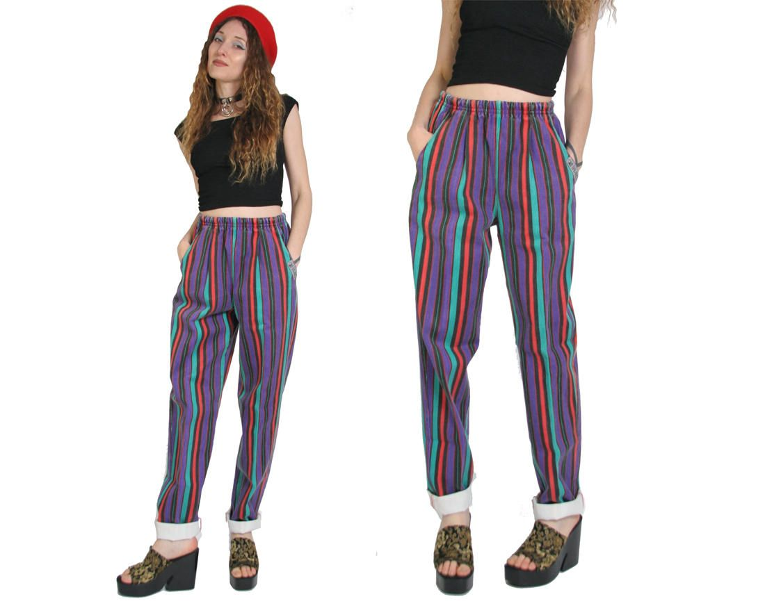 Hip hop Colorful androgynous tomboy INTL MALE boho gypsy pants drawstring OS Vintage 1980s 1990s Baggy high Waisted Tapered leg Pants