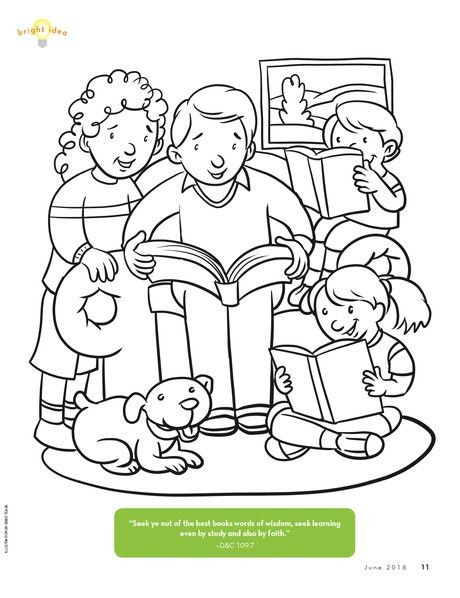 Coloring Page Of Family Reading Together