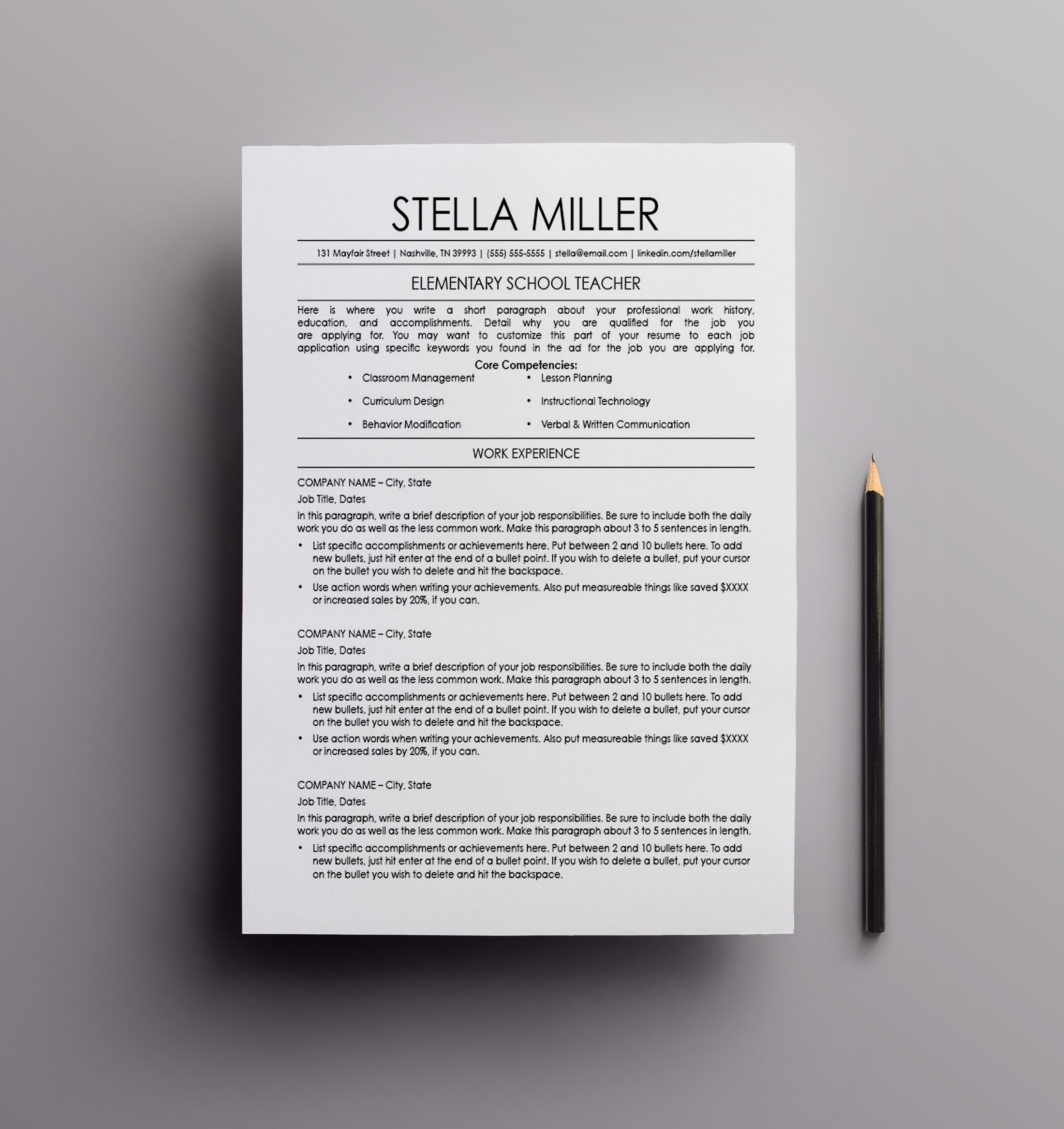 Resume Template - The Stella; resume design, cv template, curriculum ...