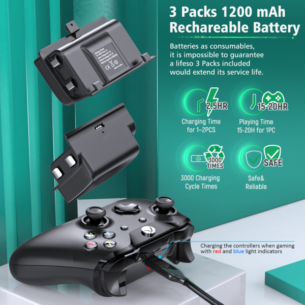 Xbox Controller Charger With 3 Packs Large 1200mah Battery Xbox One Xbox One Controller Xbox One S
