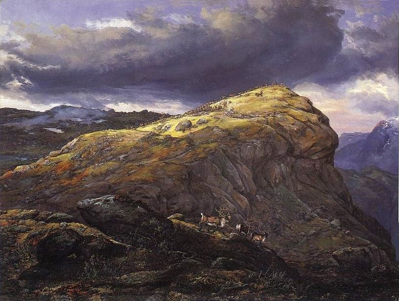 Stugunøset på Filefjeld. Schilderij Johan Christian Dahl (1851).
