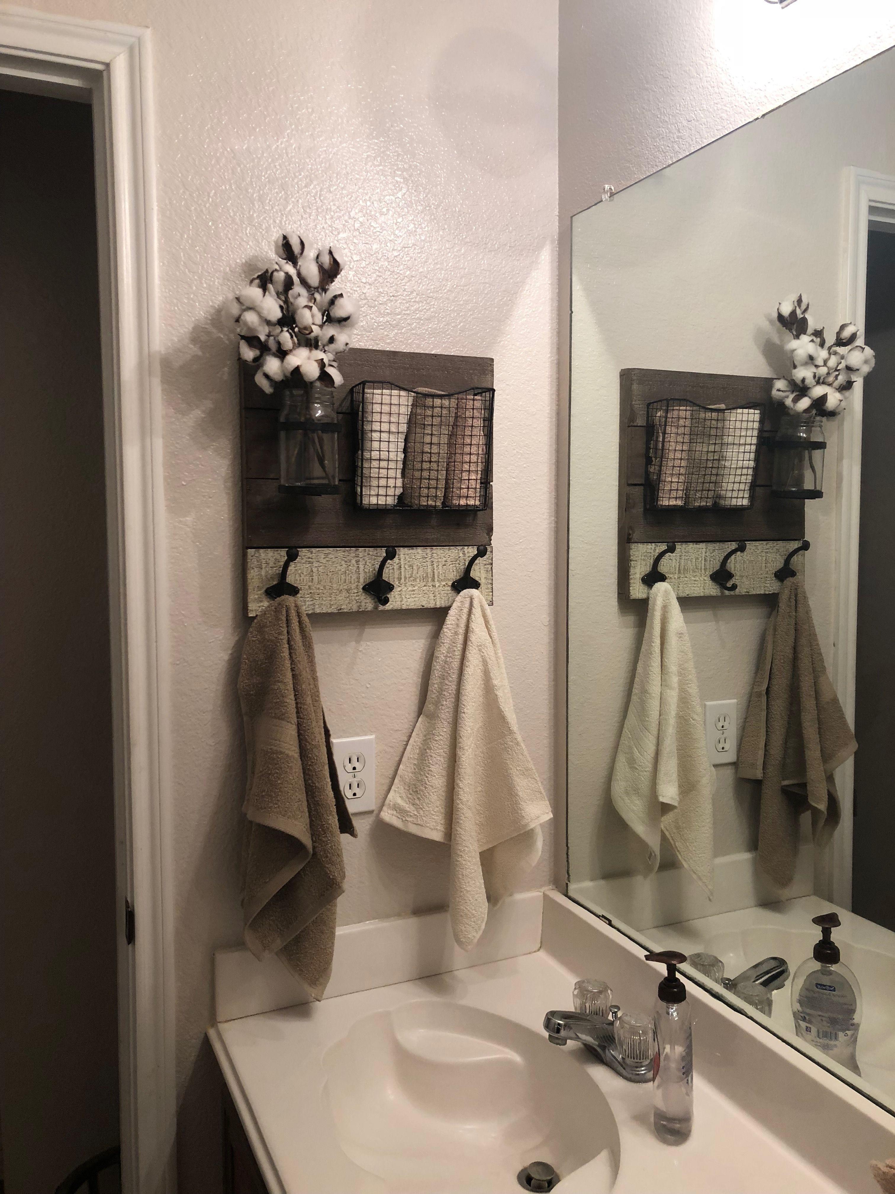 Farmhouse Bathroom Wall Organizer And Towel Holder Cottage