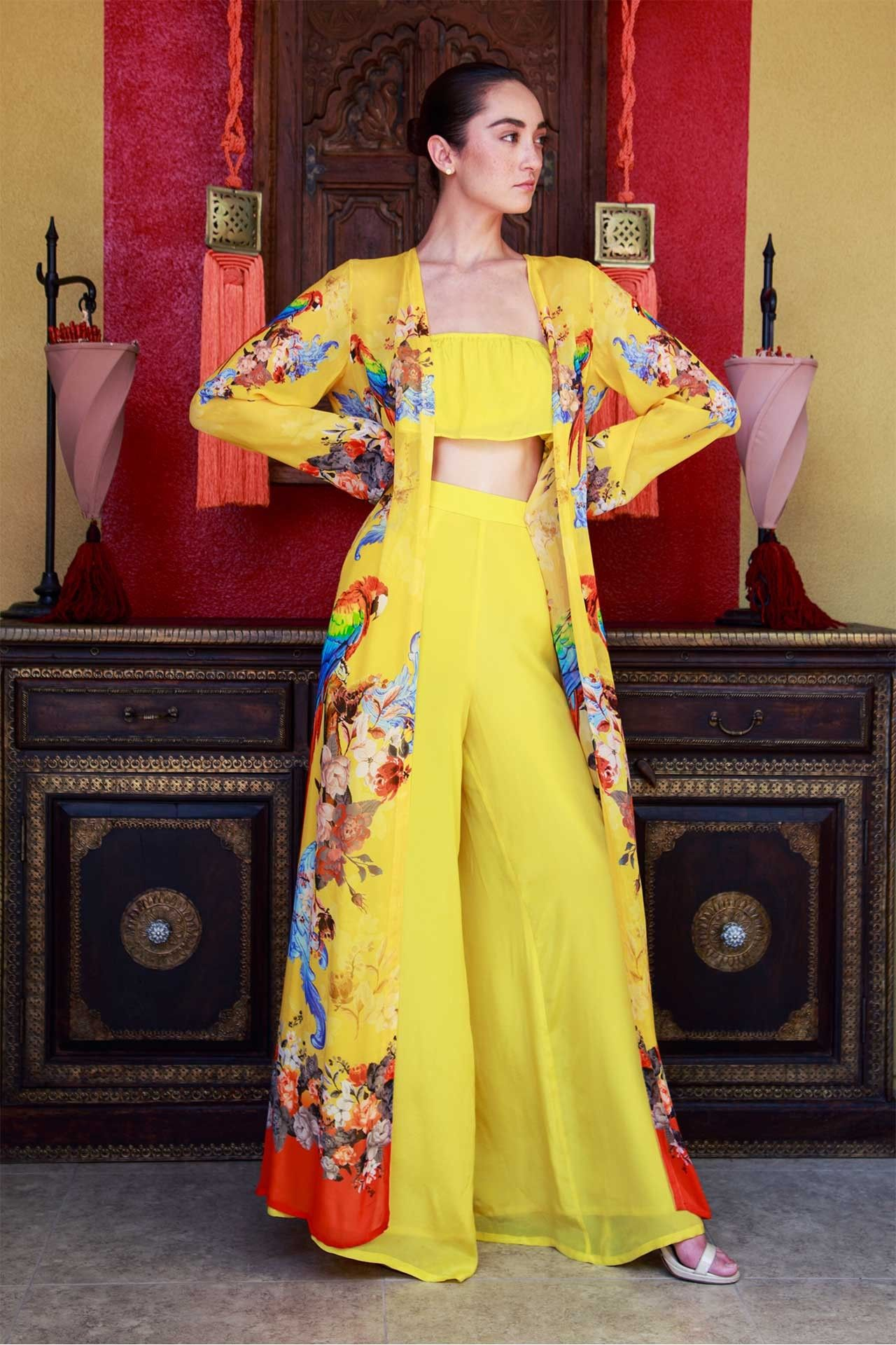 Yellow tropical bird print long duster robes and dusters