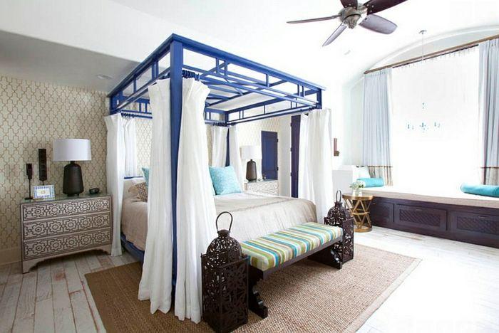 Schlafzimmer Design weiß blau laterne Schlafzimmer Ideen - schlafzimmer deko wei
