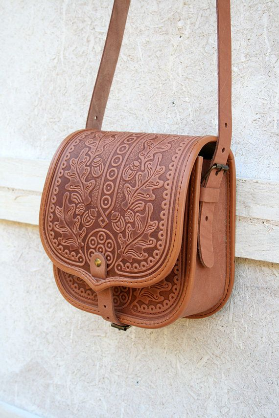 Tooled light brown leather bag - shoulder bag - crossbody bag ...