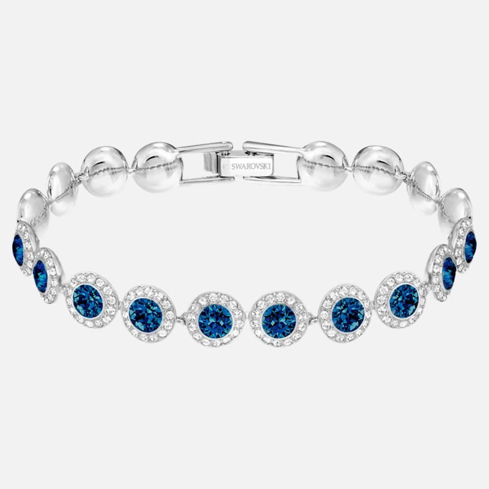 Angelic Bracelet Blue Rhodium Plated By Swarovski Blue Crystal Bracelet Blue Bracelet Swarovski Crystal Bracelet