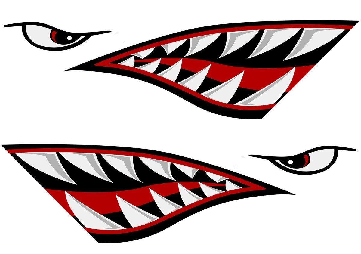 Alemon Shark Teeth Mouth Reflective Decals Sticker Fishing