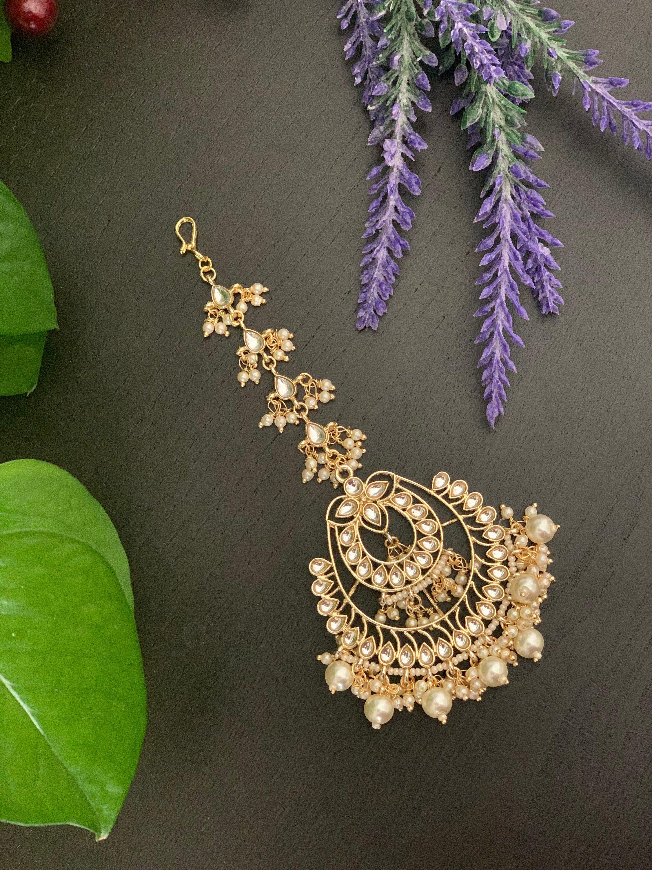 Chutti Gold Maang tikka forehead jewelry  Kundan pearl TikkaIndian Jewelry Punjabi Jewelry  head jewelry   tikka