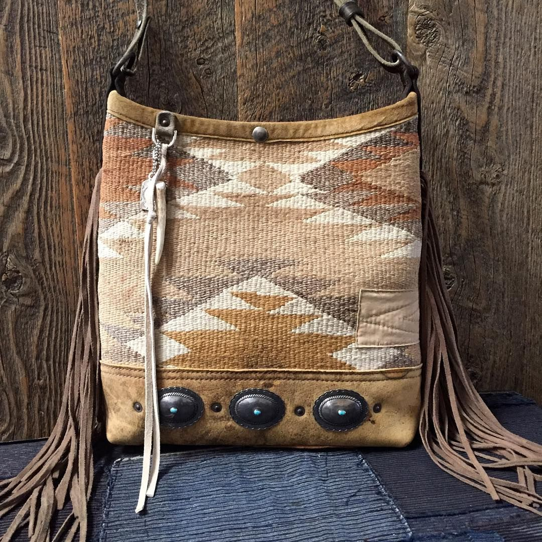 Fringed Navajo Bucket Bag Antique Sterling And Turquoise