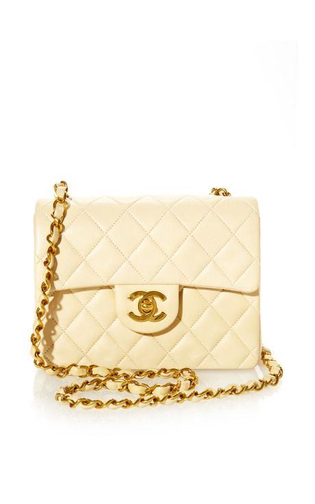 4e0266b2b30c21 Vintage Chanel Beige Small Half Flap Bag From What Goes Around Comes Around  by Vintage Chanel from What Goes Around Comes Around for Preorder on Moda  ...