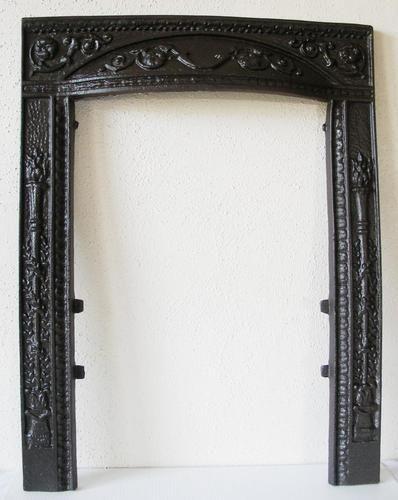 Antique Victorian Torch Floral Cast Iron Coal Fireplace Fire Door