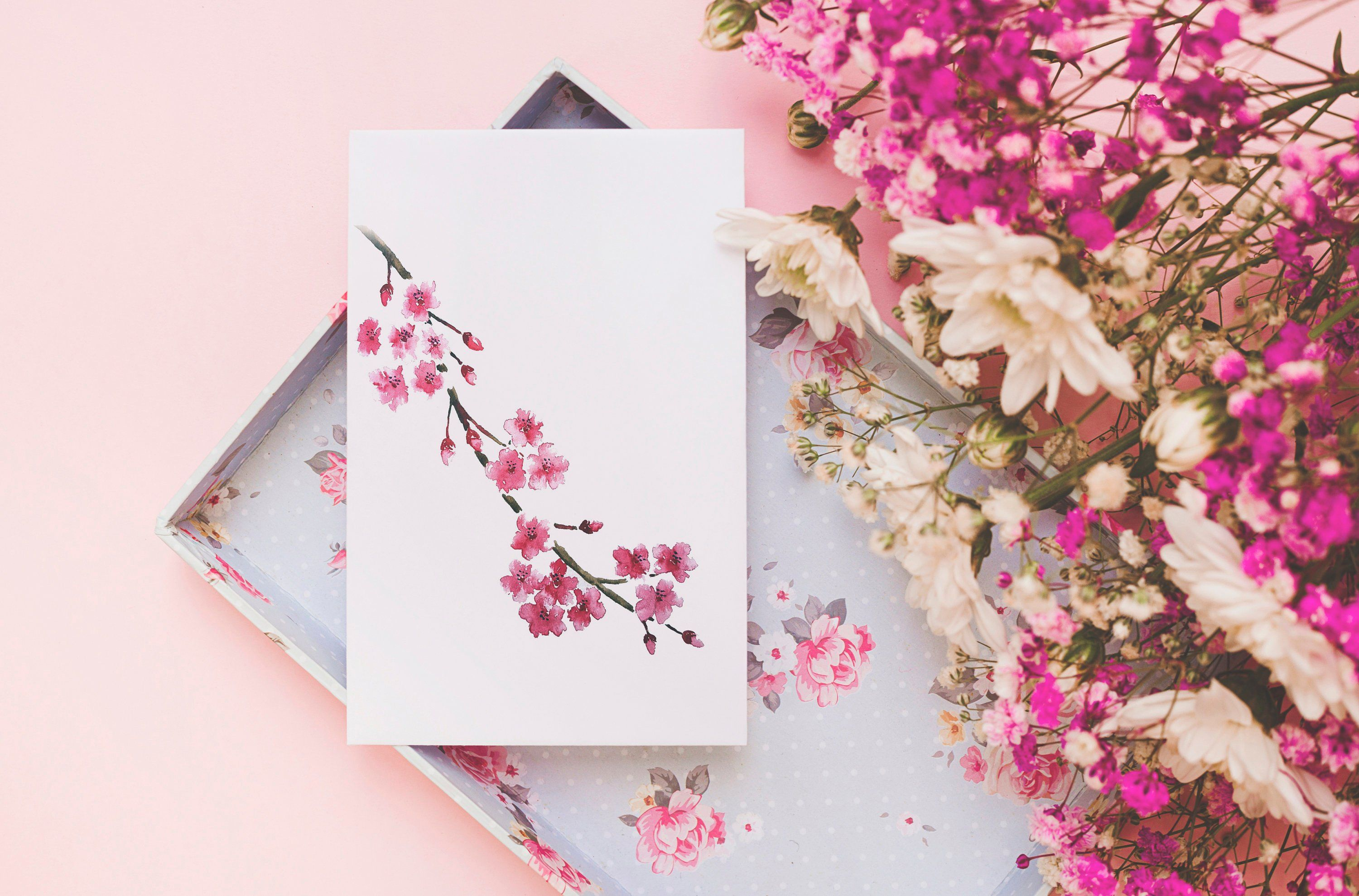 A6 Cherry Blossom Greetings Card By Sarahjaneartuk On Etsy
