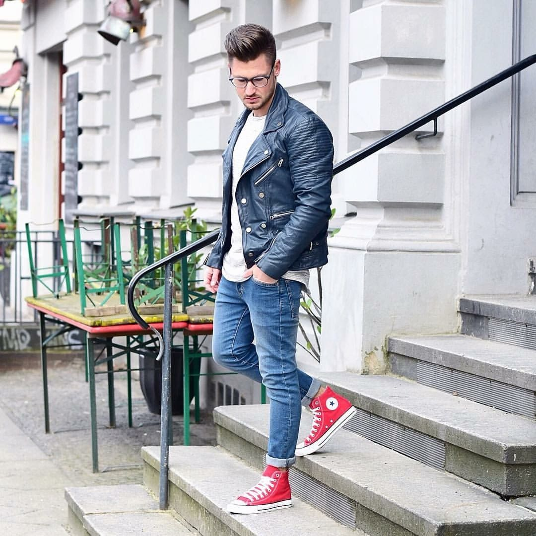 Men street style leather biker jacket red converse brought to you by Tom  Maslanka be5f2e390