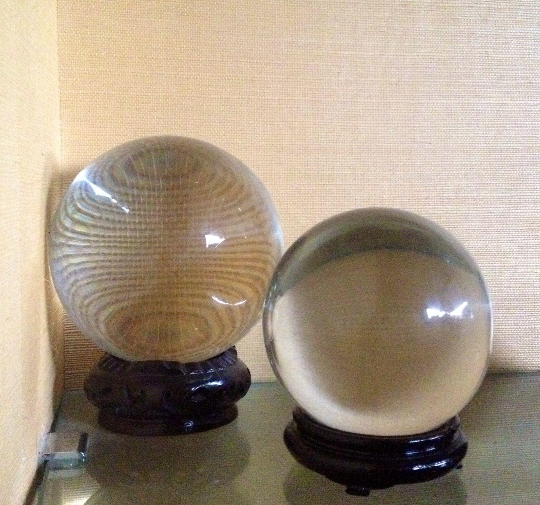 Alfredo barbini murano 2 sfere in cristallo anni 39 70 del for Arredamento artistico