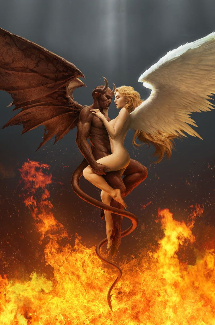 iPhone Retina Wallpapers, Fantasy Art Demon And Angel hd wallpaper, Download in high resolution at ...