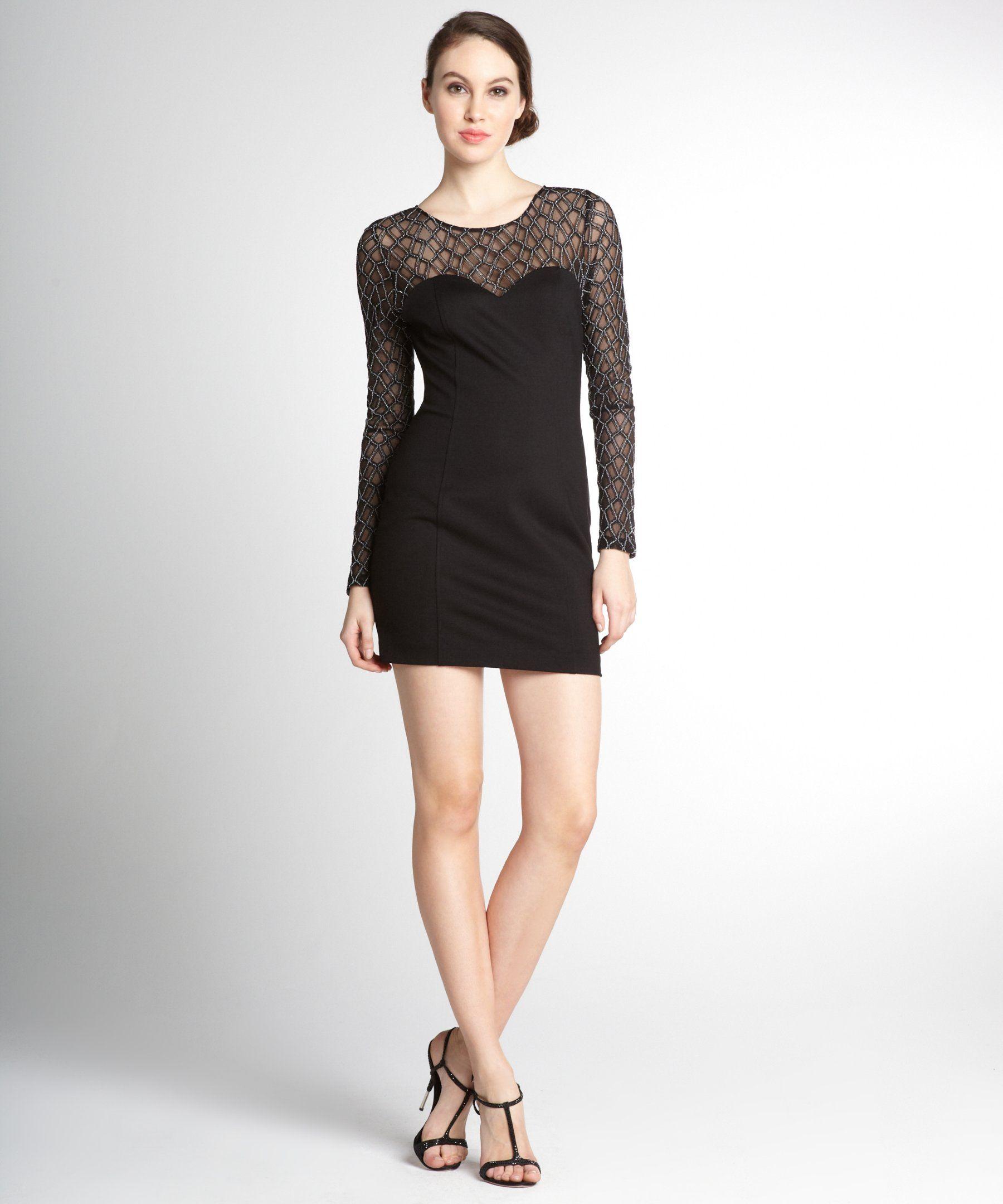 Monamour Black Beaded Stretch Mesh Top Bambi Long Sleeve Dress Bluefly Black Long Sleeve Dress Kohls Dresses Dresses [ 2160 x 1800 Pixel ]