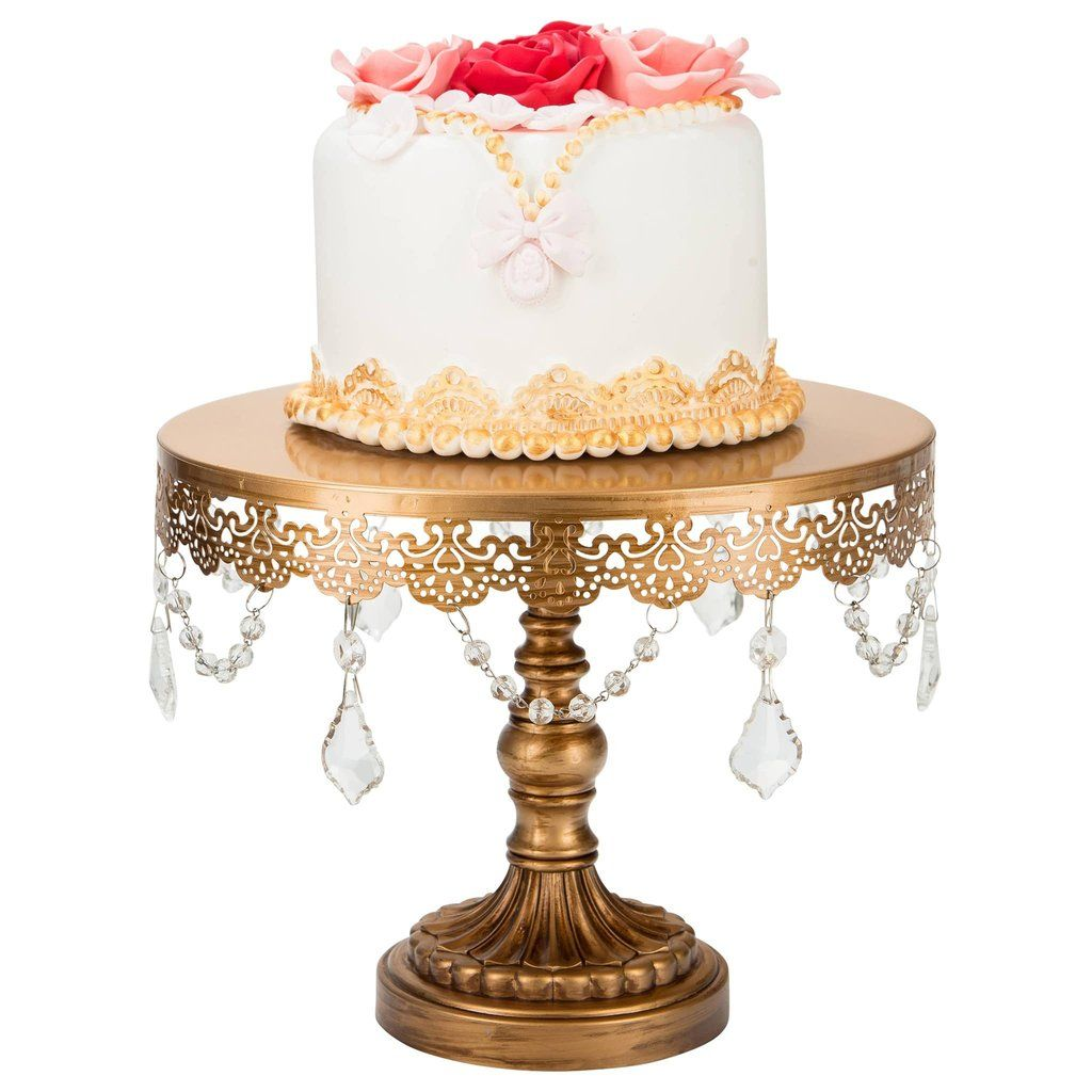 10 Inch Crystal-Draped Round Metal Cake Stand (Gold) | Gold cake ...