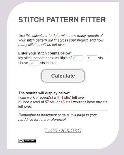 Pin of the Week: An Awesome Stitch Pattern Calculator ✿⊱╮Teresa Restegui http://www.pinterest.com/teretegui/✿⊱╮