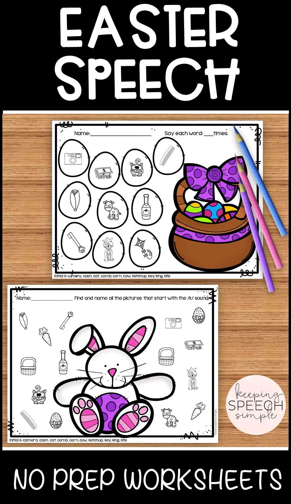 Easter Speech No Prep Articulation Worksheets Preschool Speech Therapy Autism Activities Articulation Worksheets [ 1701 x 983 Pixel ]