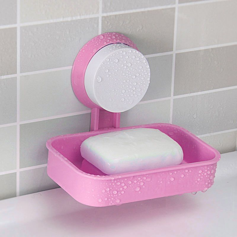 Plastic Bathroom Shower Strong Suction Cup Soap Dish Tray Wall
