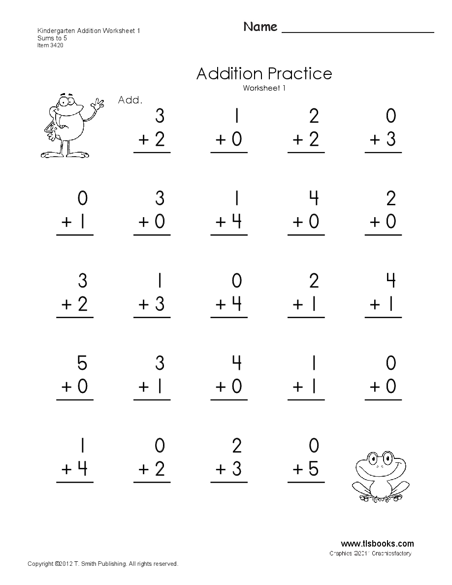 Kindergarten Addition Worksheets 1 through 6   Kindergarten math worksheets  addition [ 1188 x 918 Pixel ]