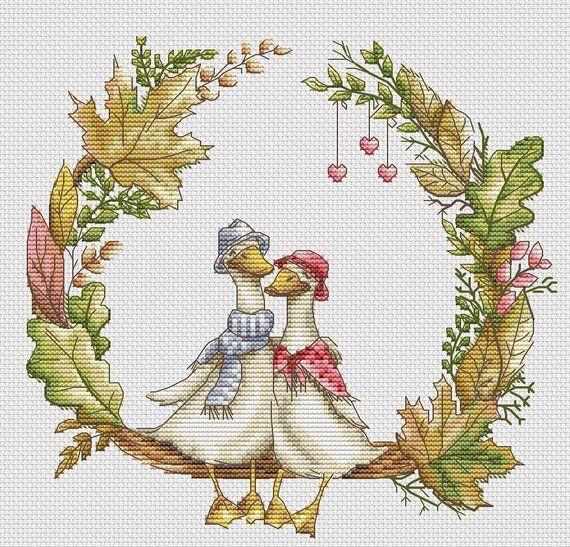Goose Cross Stitch Pattern PDF Instant Download Love Cross
